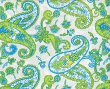 blue and green paisley