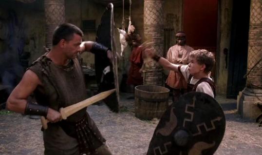 Pullo teaches Octavian to fight